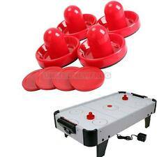 UN3F 4Pcs Air Hockey Table Goalies with 4pcs Puck Felt Pusher Mallet Grip Red