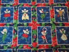 "Christmas Fairy Blocks Fabric Quilt Panel Cotton Fabric .65 Yd L x 45""W"