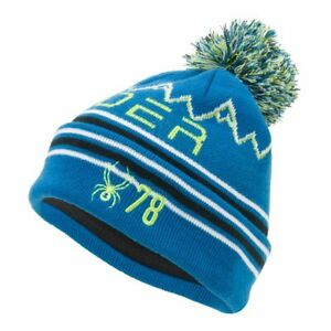 Spyder ICEBOX Kids Knit Winter Ski Pom Hat - blue - One Size