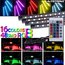 4x 48LED Remote Control RGB Car Interior Inside Floor Atmosphere Strip Light KIT