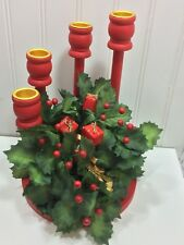 Vintage Christmas Centerpiece Wooden Taper Holder Holly Berries 24320