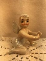 Vtg Mid-century 50's Pixie Angel Fairy Candle Hugger Holder Luster Ware Figurine
