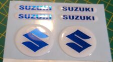 DOMED SUZUKI BIKE STICKERS DECAL  BLUE MIRRORED CHROME / FORKS / TANK