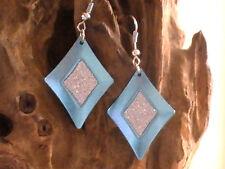 DIAMOND EARRINGS, TITANIUM BLUE DIAMOND SHAPE EARRINGS LUXURIOUS