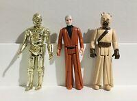 1977 Star Wars Action Figure Ben Kenobi C3PO Sand People LOT Hong Kong