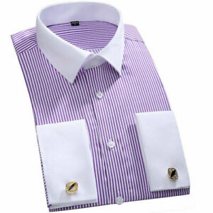 Mens Dress Shirts Long Sleeves French Cuff Casual Luxury Striped Business Shirts