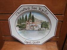 """Piatto ceramica Lago di Garda """" Chiesetta San Vigilio """" dipinto a mano"""