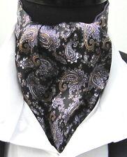 Mens Black Silver Mauve Paisley Satin Ascot Cravat & Pocket Square-UK Made