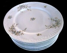 "8 Antique Austrian China 8.5"" Luncheon Plates, Blue Floral on White,Shell Border"