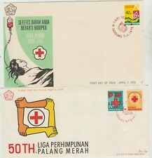 Indonesia 2 FDC 1969,'75 red Cross issues, good condition