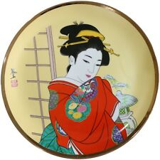 JAPANESE PORCELAIN DISPLAY CABINET PLATE GEISHA GIRL IN RED KIMONO GOLD EDGED