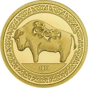 "Mongolia 2021 1000 Togrog ""Lunar Year - Ox"" 1/2 g Gold Proof Coin"