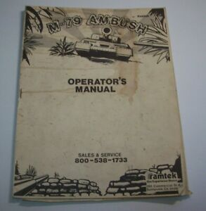 M 79 Ambush Arcade MANUAL Original Ramtek 1977 Video Game Service Repair Info