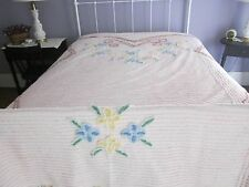 Vintage Chenille bedspread. Pink background with flowers. 81 by 90 size