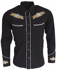Relco Western Cowboy Black Skull Long Sleeved Rockabilly Line Dancing Shirt
