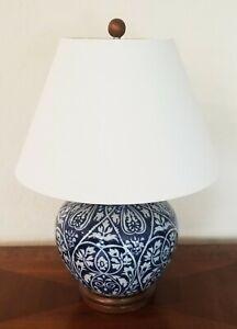RALPH LAUREN LAMP PORCELAIN FLORAL MANDARIN BLUE WOOD BASE GINGER JAR LOGO NEW