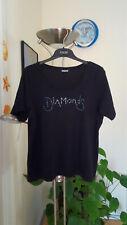 Damen T-Shirt kurzarm Stretch schwarz silber blau Diamonds Pailletten Gr.L-XL