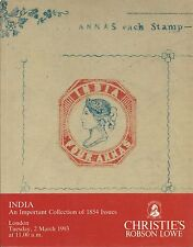 CHRISTIE'S INDIA Collection of 1854 Issues Stamps Covers Auction Catalog 1993