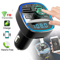 Bluetooth 5.0 Car Kit FM Transmitter Wireless Radio Adapter SD Slot USB Charger
