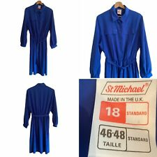 🌟Vintage St Michael Sea Blue Size 14 16 L Belted Shirt Dress Pockets Womens