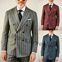 Men Striped Wool Suits Double Vent Peaked Lapel Double-breasted Formal Tuxedos
