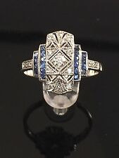 Diamond and sapphire art nouveau style dress ring in white gold