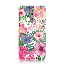 DYEFOR WHITE BRIGHT FLOWER PATTERN PINK FLORAL PHONE CASE COVER FOR NOKIA