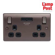 BG Nexus Metal NBN22U3B - BLACK NICKEL 2 Gang Double Plug Socket & 2 USB - 3.1A
