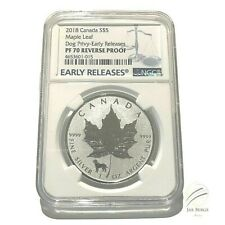 2018 Canada S$ 5 Maple Leaf Dog Privy NGC PF70 Reverse Proof Early Releases 1 oz