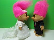 """BRIDE & GROOM - 5"""" Russ Troll Dolls - NEW IN ORIGINAL WRAPPERS - Pink Hair"""