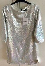 Topshop, Silver Sequined fitted mini Dress, Medium. Brand New with tags