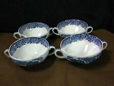 "(4) Vtg. Enoch Wedgwood Ltd. England ""Woodland"" Handled Blue/White Soup Bowls"