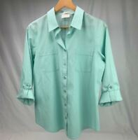 Chicos button up shirt blouse Womens 1 Mint large roll tab long sleeve top sz 1