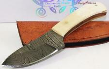 Genuine Damascus Wide Bellied Blade Full Tang White Bone Hunting Skinning Knife