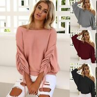 Women Long Sleeve Knitted Sweater Tops Batwing Cardigan Outwear Coat Oversized