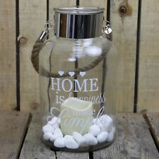 Hurricane Storm Lantern with LED Candle and Decorative Stones ~ Happiness