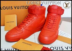 Authentic LOUIS VUITTON Monogram Men's Sneakers Leather Size 8 Red Color from JP