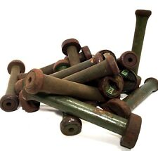 Textile Bobbins Spools Spindles Vintage Wooden Imported 16 Green Quills fm India