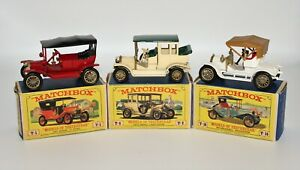 Lot of 3 Vintage Matchbox Lesney Models of Yesteryear w/Boxes No. Y-4, Y-3 & Y-1