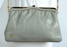 Vintage JANE SHILTON LIGHT GREY, SOFT LEATHER SHOULDER / CLUTCH BAG  Small Size