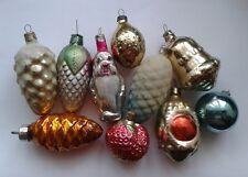 10 Vintage Soviet Christmas ornaments CONES DWARF TRAFFIC LIGHT STRAWBERRY 003