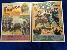 2 chromolitho E T Paull sheet music SPIRIT of USA 1924; & SPIRIT of FRANCE 1919