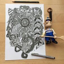 Original Bild, Zeichnung, Tusche, Anker, Segelturn, abstrakt, im Zentangle-Stil
