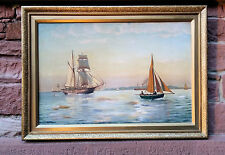 Original Ölgemälde JENS JOHAN NEUMANN (*1860) Segelschiffe vor Dänischer Küste
