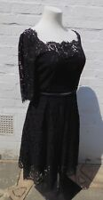 Joanie Black lace occasion party dress Size 16 gothic steampunk sleeves retro