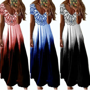 Women's Gradient Floral Short Sleeve Maxi Dress Loose Ball Prom Gown Plus Size