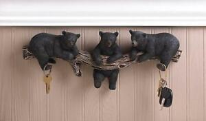 Black Bear Wall Key Holder Wall Plaque - Animal Decor