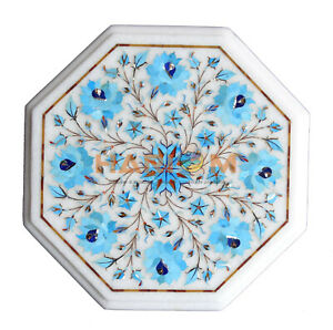 "12"" Marble Octagon Coffee Table Top Turquoise Floral Inlay Outdoor Decors W164"