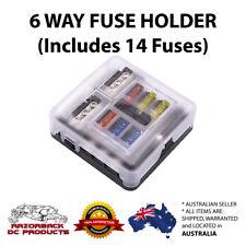 6 Way Circuit Blade Fuse Box(with Fuses) Holder LED Indicator Car Marine 12V 24V