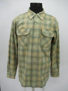 P5656 VTG Men's Pendleton Plaid Long Sleeve Button-Up Board Shirt Size L